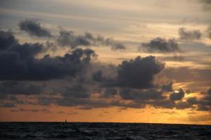 Cassiopeia i morgenlys, billedet taget fra Bliss, På vej mod Antigua