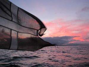 Dannebrog i Solnedgang, på vej mod Antigua