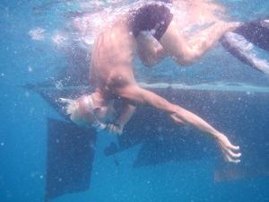 Dykker på Culebrita, De spanske jomfruøer, det viser sig at være et problem at vi gik til denne ubeboede ø, men det løser sig heldigvis.