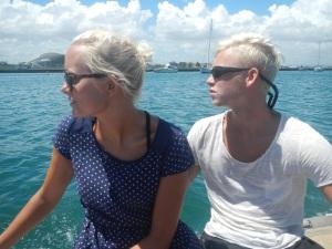 I gummibåden, på vej ind til San Juan